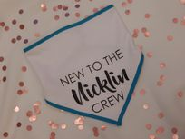 New To The Crew Personalised Baby Bib Coloured Trim